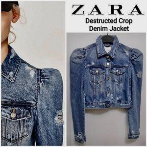 ZARA - Destruct Denim Crop Jacket! NWT!
